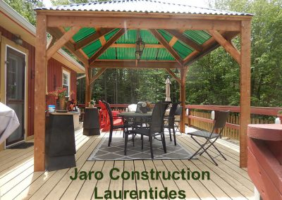 Abri bois jardin soleil Jaro Construction Rive Nord Laurentides